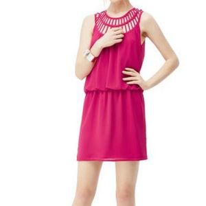Naked Zebra Hot Pink Cage Neck Dress